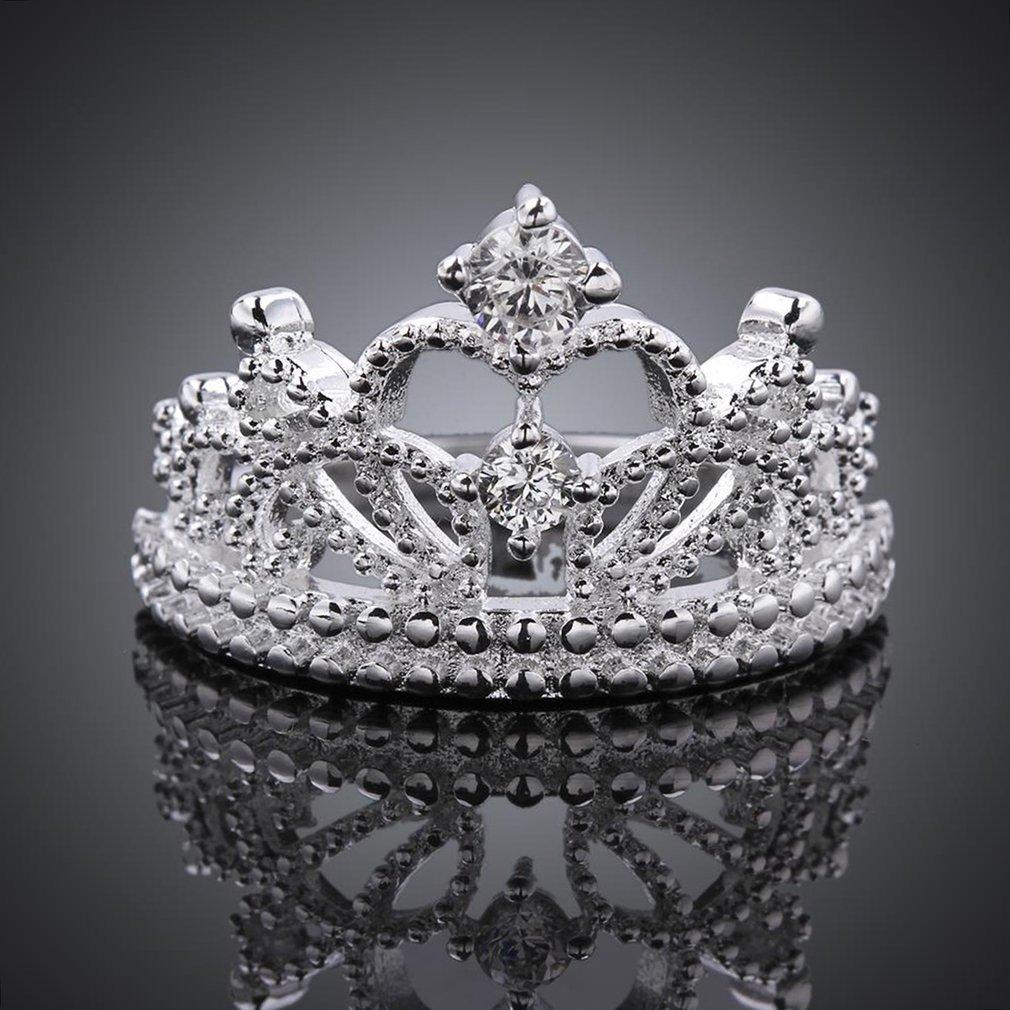 YaphteS Crown Shape Woman Ring Lady Finger Ring Wedding Jewelry Christmas Gift Stylish simplicity Adjustable