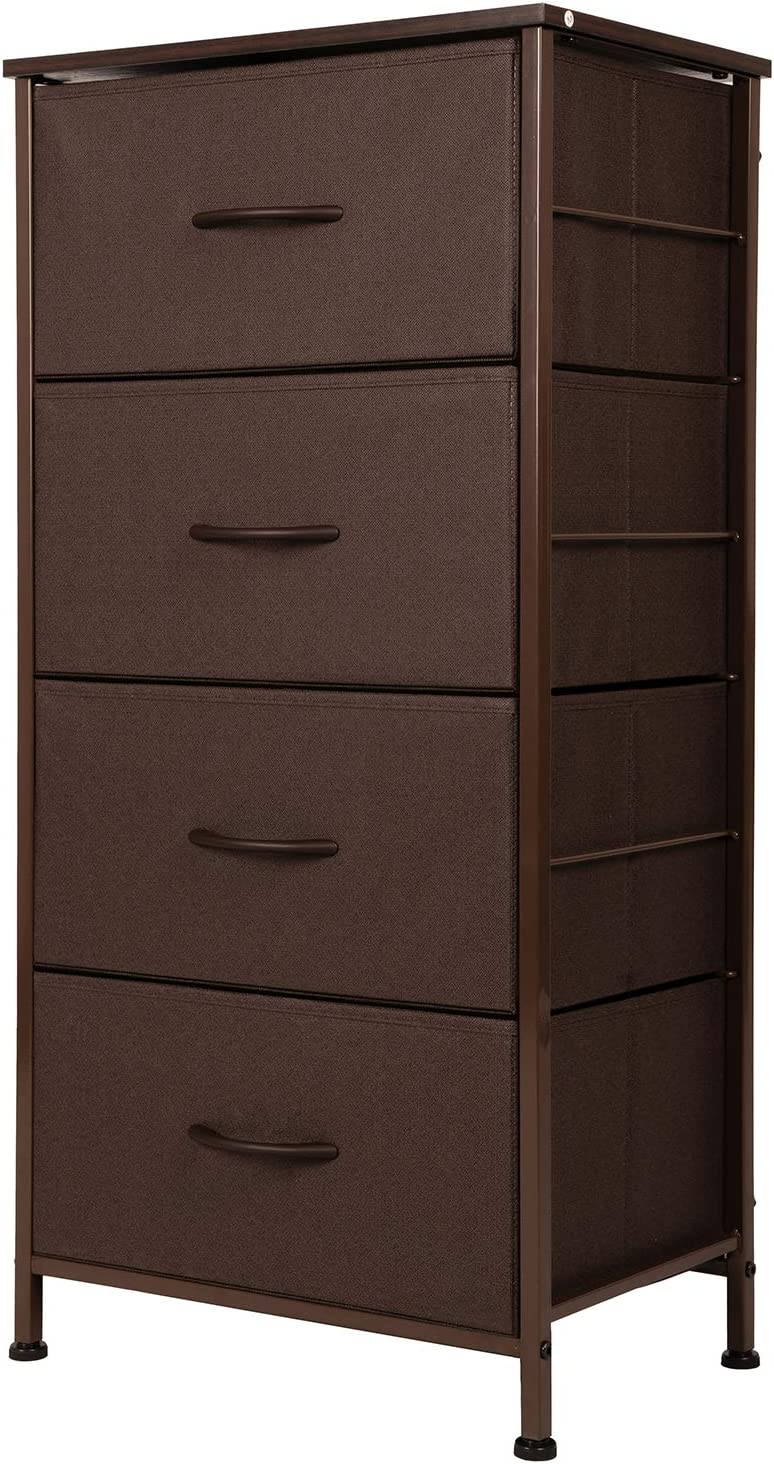 ODK Dresser with 4 drawers, Fabric storage Tower, Organizer Unit for Bedroom, Chest for Hallway, Closet. Steel frame and Wood Top, Brown