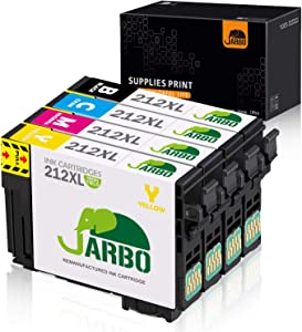 JARBO Remanufactured Ink Cartridge Replacement for Epson 212XL 212 XL T212XL T212, for Workforce WF-2850 WF-2830 Expression Home XP-4100 XP-4105 Printer (1 Black, 1 Cyan, 1 Magenta, 1 Yellow) 4 Pack
