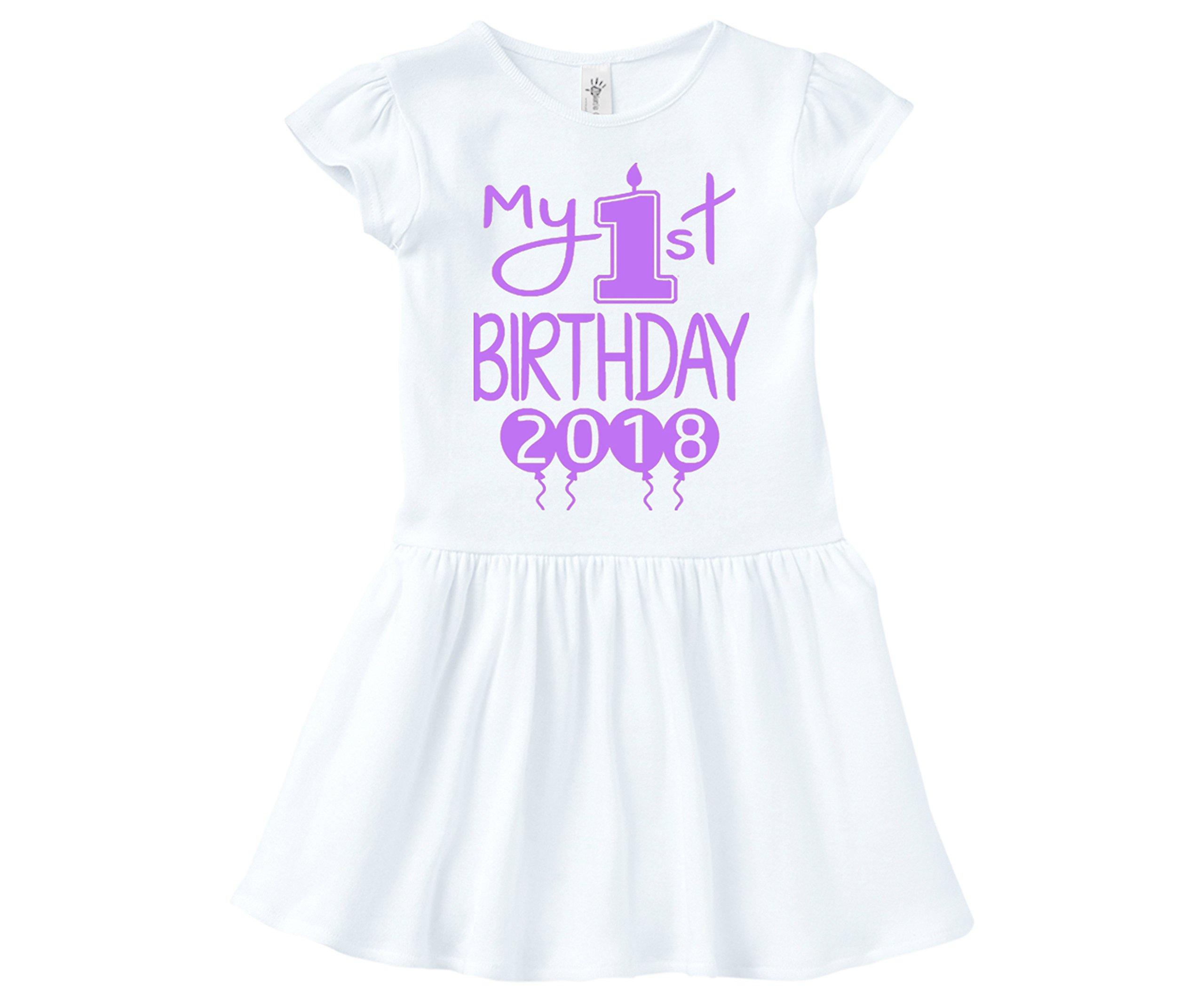 Aiden's Corner Baby Girl First Birthday Dress - My First Birthday 2018 Dress (12 Months, Lilac White)