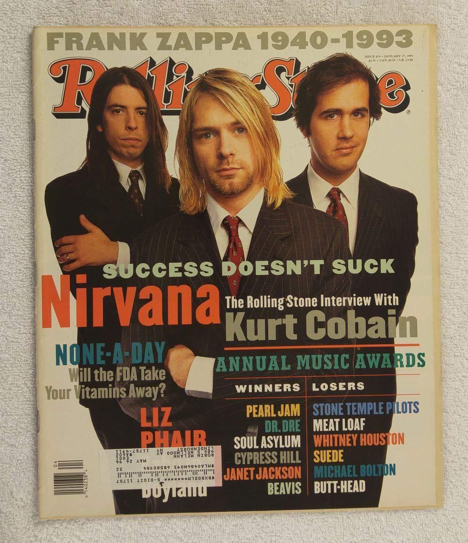 Kurt Cobain, Krist Novoselic & Dave Grohl - Nirvana - Rolling Stone Magazine - #674 - January 27, 1994 - Death of Frank Zappa