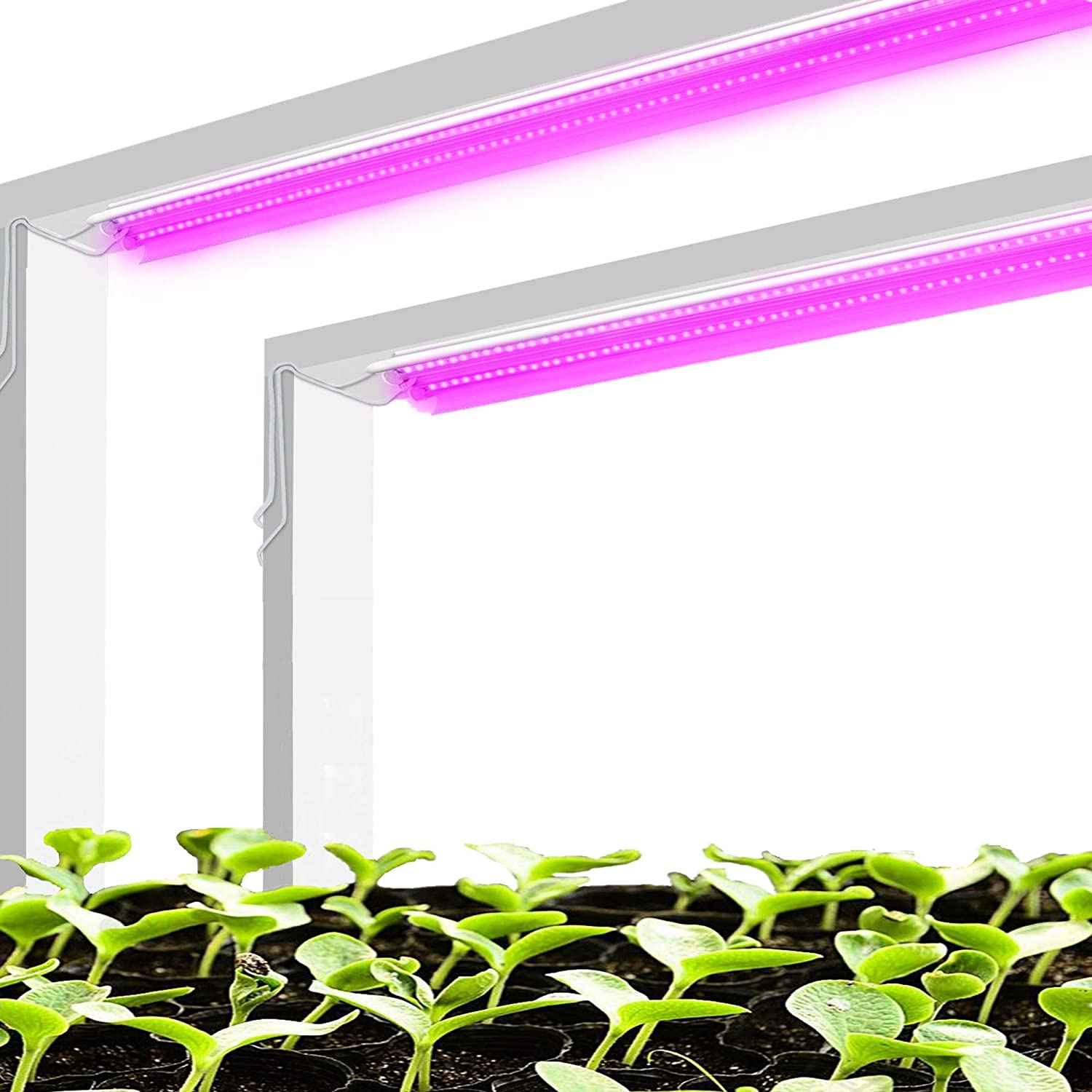 Hanger Chain Included Pack of 2-4FT LED Grow Light Fixture with Reflector Combo Full Sepcturem T5 Growing Plant Lamp for Greenhouse Hydroponic Indoor Seedling Veg and Flower 120W 2 x 60W