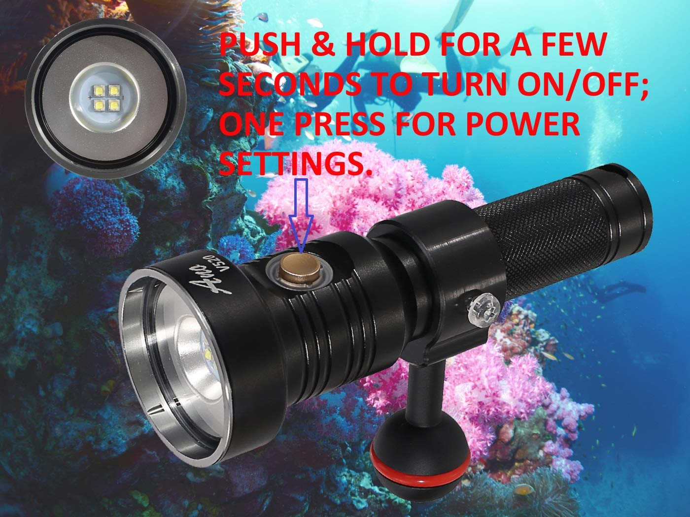 ANO V520 Dive Video Light 2000 Lumen with 2 Power Settings Included ICR18650 Battery and USB Charger Scuba Underwater Photography Light Waterproof 650ft
