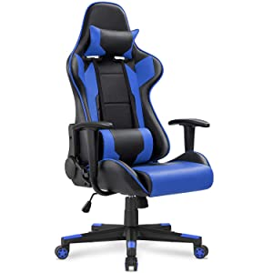 Homall Gaming Chair Office Chair High Back Computer Chair PU Leather Desk Chair PC Racing Executive Ergonomic Adjustable Swivel Task Chair with Headrest and Lumbar Support (Blue)