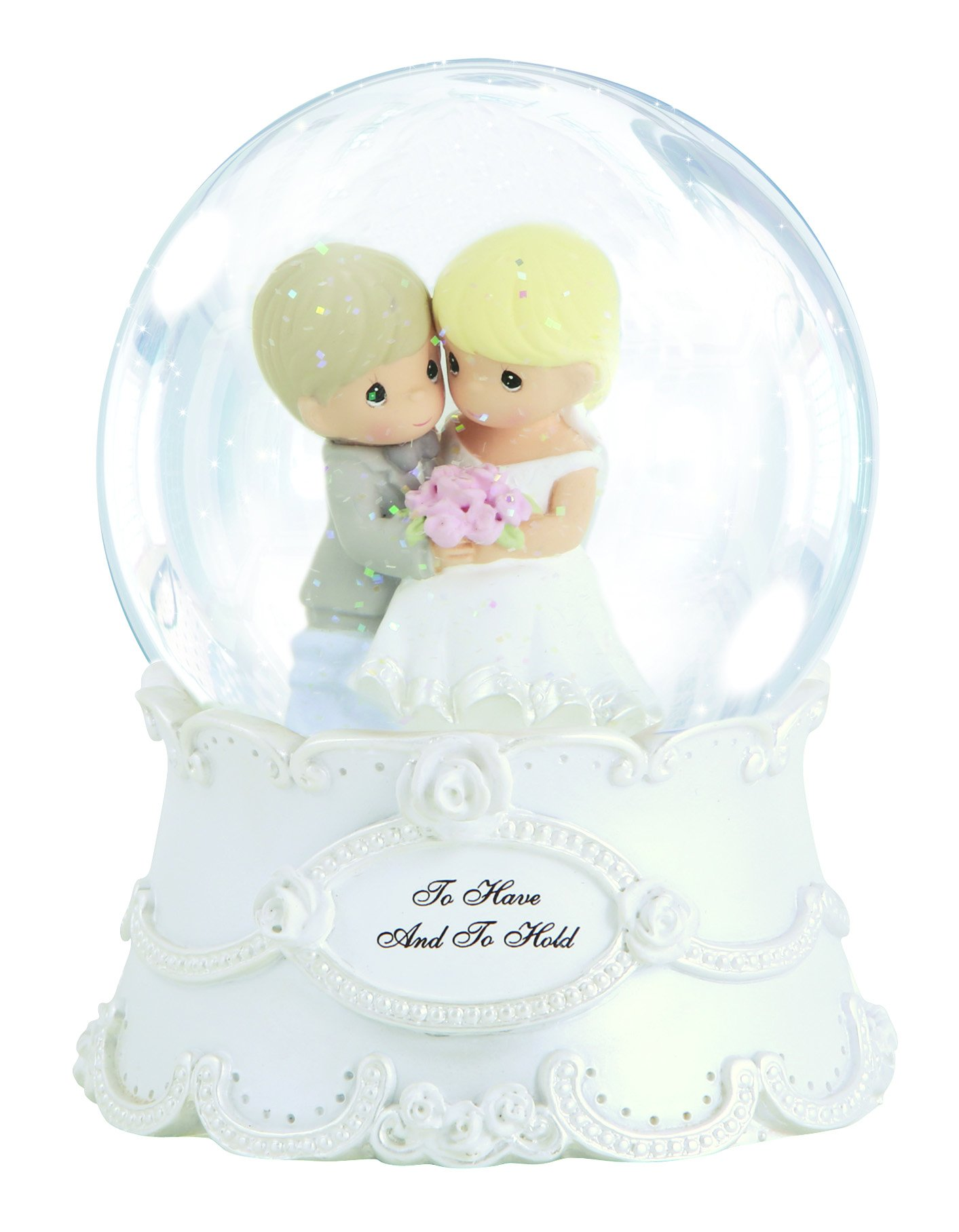 Precious Moments,  To Have And To Hold, Resin/Glass Snow Globe, Musical, 143101
