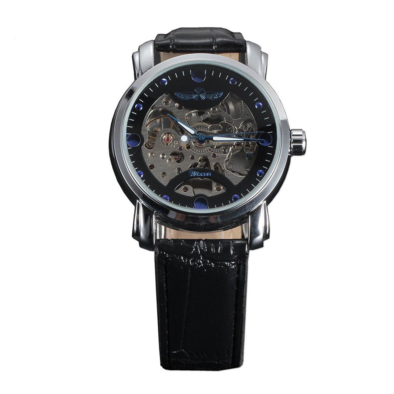 WinnerメンズブルーTypefaceダイヤルHollow Skeleton Auto Mechanical Wrist Watch、レザーストラップ 1# B06ZXXPTYS 1# 1#