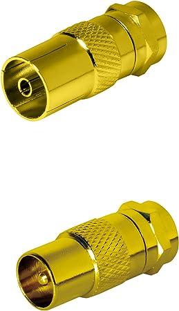 SAT de Fox 2 x SAT adaptador antena coaxial (1 x F a conector IEC Conector de antena, 1 x A Antena hembra), Coax hembra para cable coaxial – Cable de ...