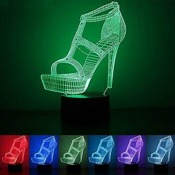 Amazon.com: superniudb 3d Tacones altos zapatos Noche Luz ...