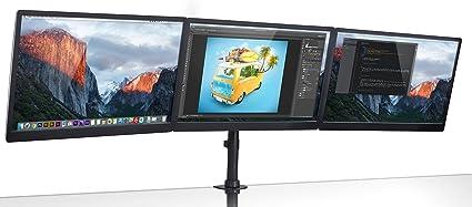 Mount-It. Triple Monitor pantalla plana 3 Protector de escritorio soporte para LCD monitores de ordenador para 19 20 22 23 24 27 pulgadas Monitores VESA 75 y 100 compatible movimiento completo, 54 kg capacidad (mi-1753): Amazon.es: Oficina y papelería
