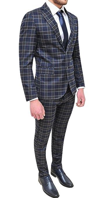94eb455f51 Abito completo uomo sartoriale blu grigio quadri slim fit vestito elegante