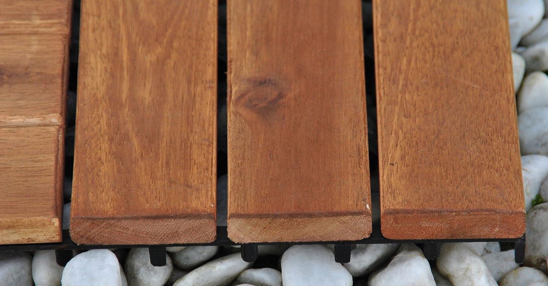 Einzelfliese 01 Terrassenfliese aus Akazien-Holz Holz-Fliese mit 6 Latten f/ür Garten Terrasse Balkon Balkon Bodenbelag mit Drainage-Unterkonstruktion f/ür problemfreien Wasserablauf unter den Fliesen