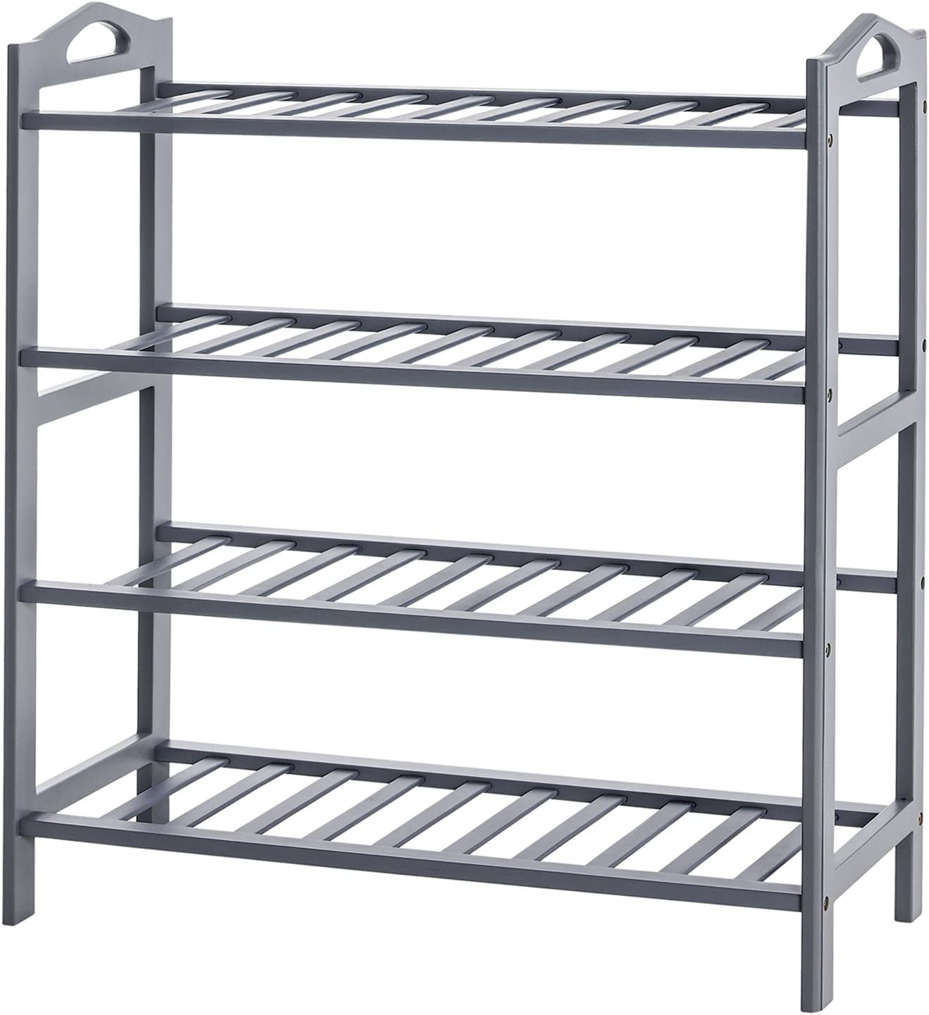 SONGMICS 4-Tier Shoe Rack, 100% Bamboo Entryway Shoe Shelf Storage Organizer, 30 Inch Wide Holds up to 16 Pairs, Ideal for Hallway Bathroom Garden, 26.6 x 10.3 x 29.4 Inches,Gray ULBS94GY