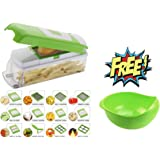 Anvel Miraz Abs And Polycarbonate Vegetable Cutter And Chopper With 12 Blades And Peeler, Green