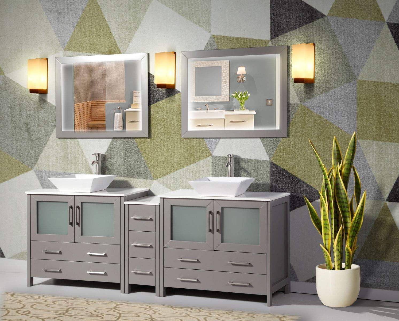Amazon Com Vanity Art 84 Inch Double Sink Bathroom Vanity Compact Set 3 Cabinets 2 Shelves 7 Drawers Quartz Top And Ceramic Vessel Sink Bathroom Cabinet With Free Mirror Va3136 84 G Kitchen Dining