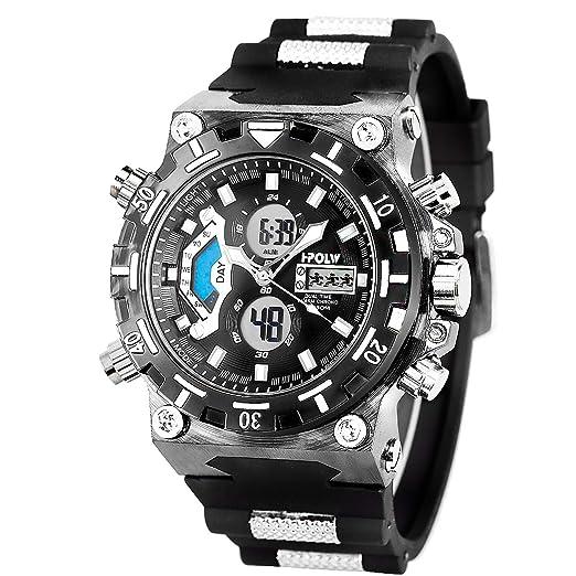 1a70066fcb9e Reloj Deportivo Muñeca Digital Cara Grande Impermeable Militar LED  Cronómetro SIBOSUN Hombres Japonés Cuarzo Fecha de Alarma  Amazon.es   Relojes