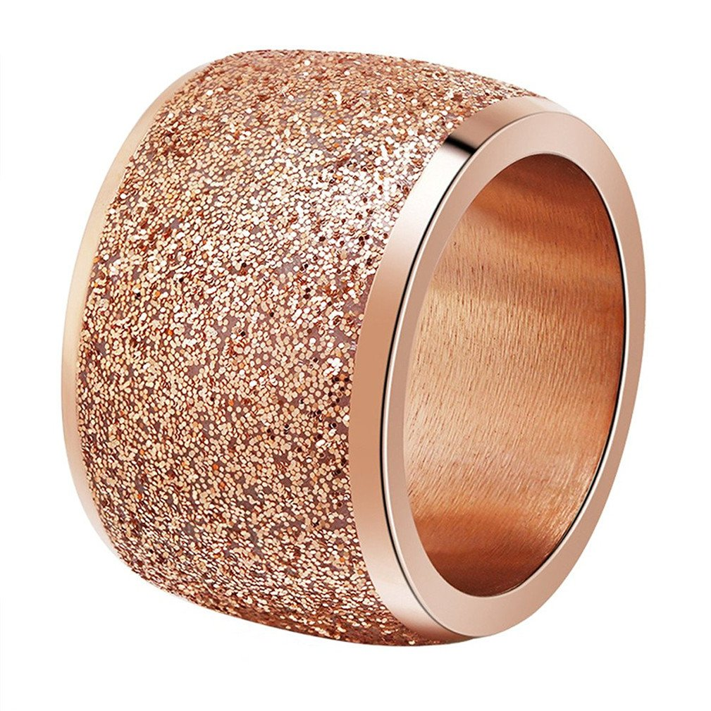 INRENG Women's Stainless Steel Ring Shiny Sequins Pave Sandblast Wide Wedding Band Rose Gold Size 8