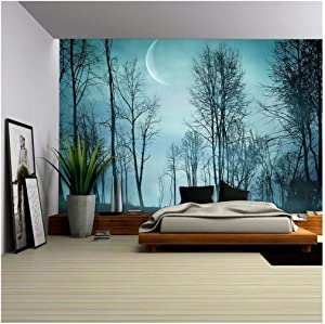 wall26 - Night Forest in Vintage Background - Removable Wall Mural | Self-Adhesive Large Wallpaper - 100x144 inches