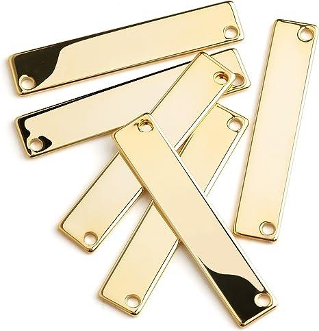 16K Gold Plated Horizontal Bar 40x8mm Stamping Gold Bar Pendant PKG01 Gold Stamping Tag 5pcs Stamping Blanks Pendant Blank