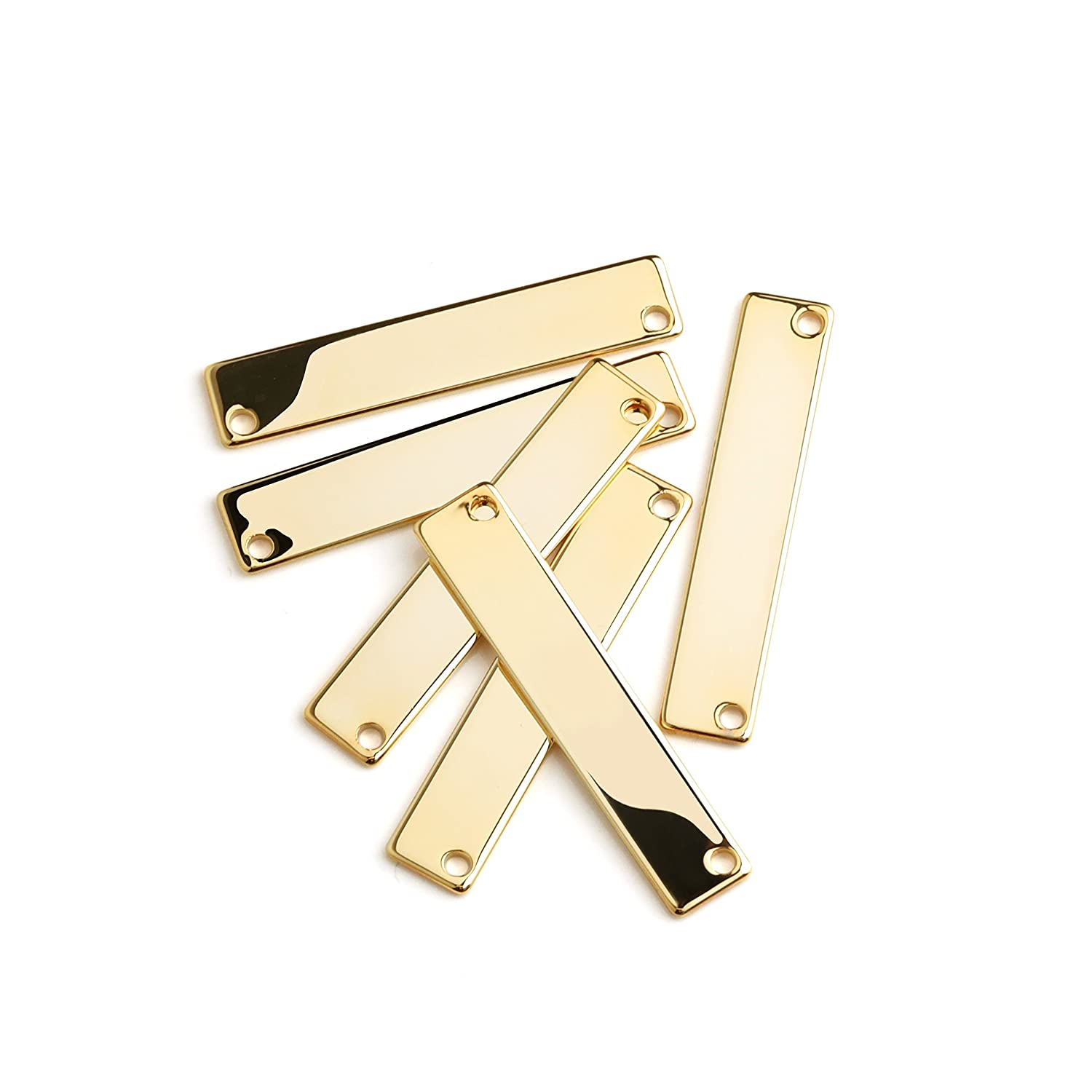 10 Pieces - 16K Gold Plated Stamping Blank Bar Horizontal Pendant Name Plate Jewelry Supply Craft Supplies 1.35 x 0.28 (34.3mm x 7mm) - 10P4 (Gold) Mignon Supply
