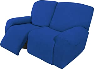 Easy-Going 6 Pieces Recliner Loveseat Stretch Sofa Slipcover Sofa Cover Furniture Protector Couch Soft with Elastic Bottom Kids, Spandex Jacquard Fabric Small Checks Classic Blue