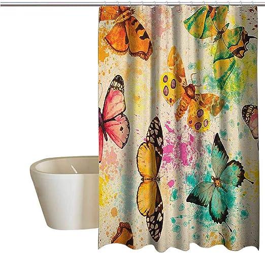 Butterfly Fabric Shower Curtain Butterflies Multi-Color 70x72 Bathroom Tub