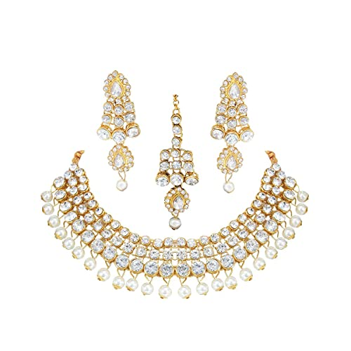 Indian Fashion Jewellery kundan Style Look Traditional Gold Plated Golden Pearl ChokerNecklace Set with Earrings for Girl and Women