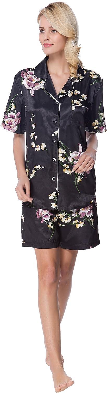 Details about  /Lavenderi Women/'s Short Sleeve Classical Silky Satin Pajamas Short Bottom Sleep