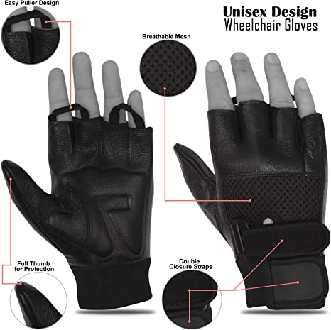 Half Finger Mesh Back Leather Bus Driving Gloves Weight Lifting Wheelchair
