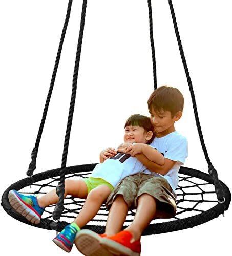 SUPER DEAL 40 Spider Web Tree Swing Net Swing Platform Rope Swing 71 Detachable Nylon Rope Swivel, Max 600 Lbs, Extra Safe and Durable, Fun for Kids