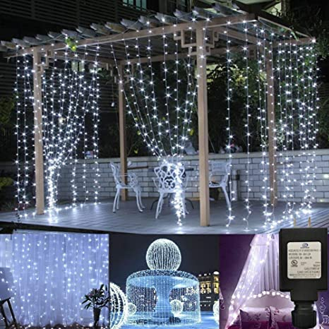 Ucharge Window Curtain Icicle Lights 300 Led 8 Modes String Light For Christmas Halloween Wedding Party Backdrops White Amazon Ca Home Kitchen