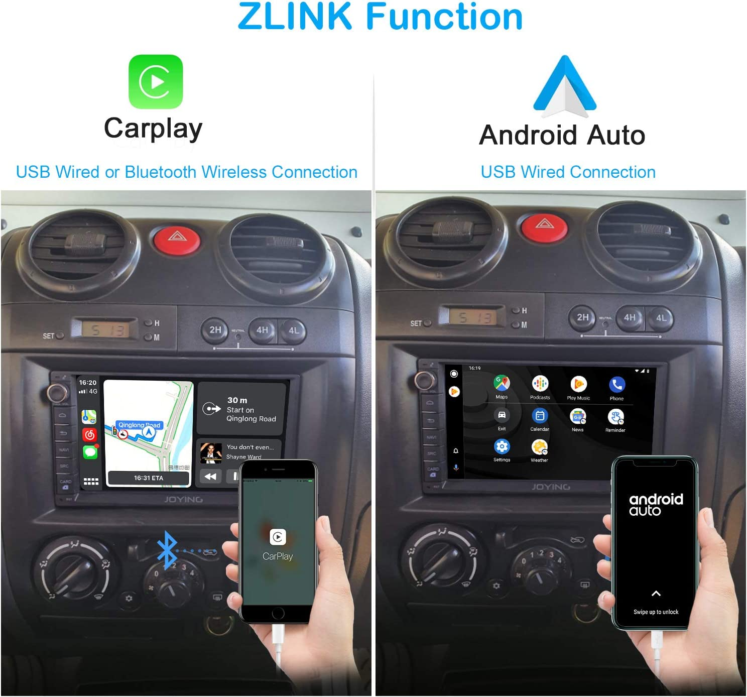 JOYING 7 Inch Touchscreen Double Din Car Stereo Android 10 Car Navigation in-Dash Car Audio Receiver Support Butoon 7-Color//4G SIM Card Slot//Android Auto//Zlink//DSP//SPDIF//FM Radio