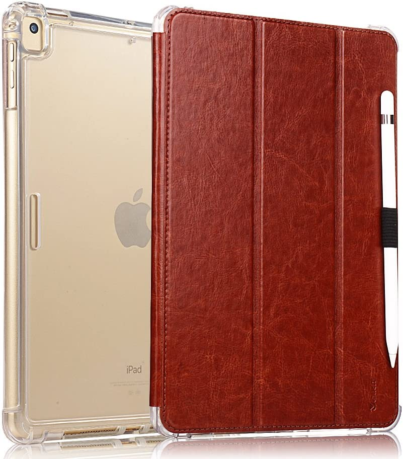 Valkit iPad Air (3rd Gen) 10.5'' 2019 / iPad Pro 10.5'' 2017 Case, Smart Folio Stand Protective Translucent Frosted Back Cover for Apple iPad Air 3 10.5 Inch 2019[Auto Sleep/Wake], Brown