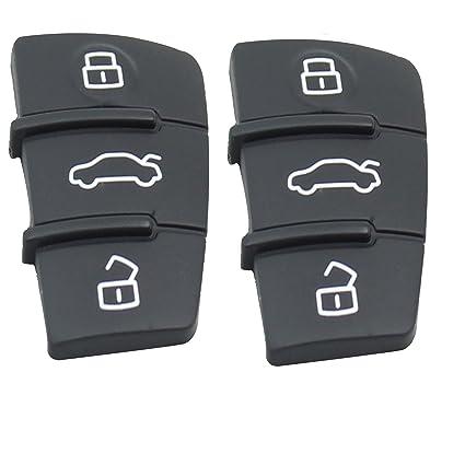 Pack de repuesto – Carcasa de mando sin llave Fob 3 Botón Pad para Coche Audi Pad