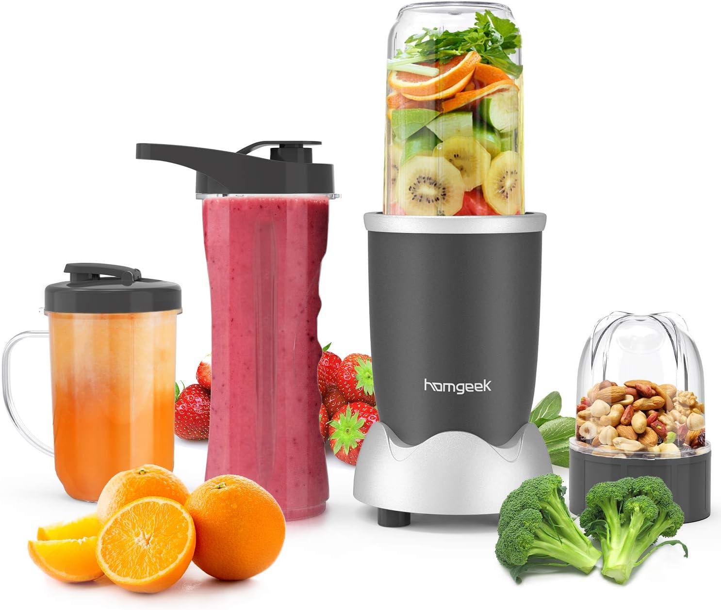 homgeek Batidora de Vaso, Licuadora Smoothies de Alta Velocidad con 500W, Licuadora Pequeña para Batidos de Frutas y Verduras, Fácil de Limpiar, Sin BPA