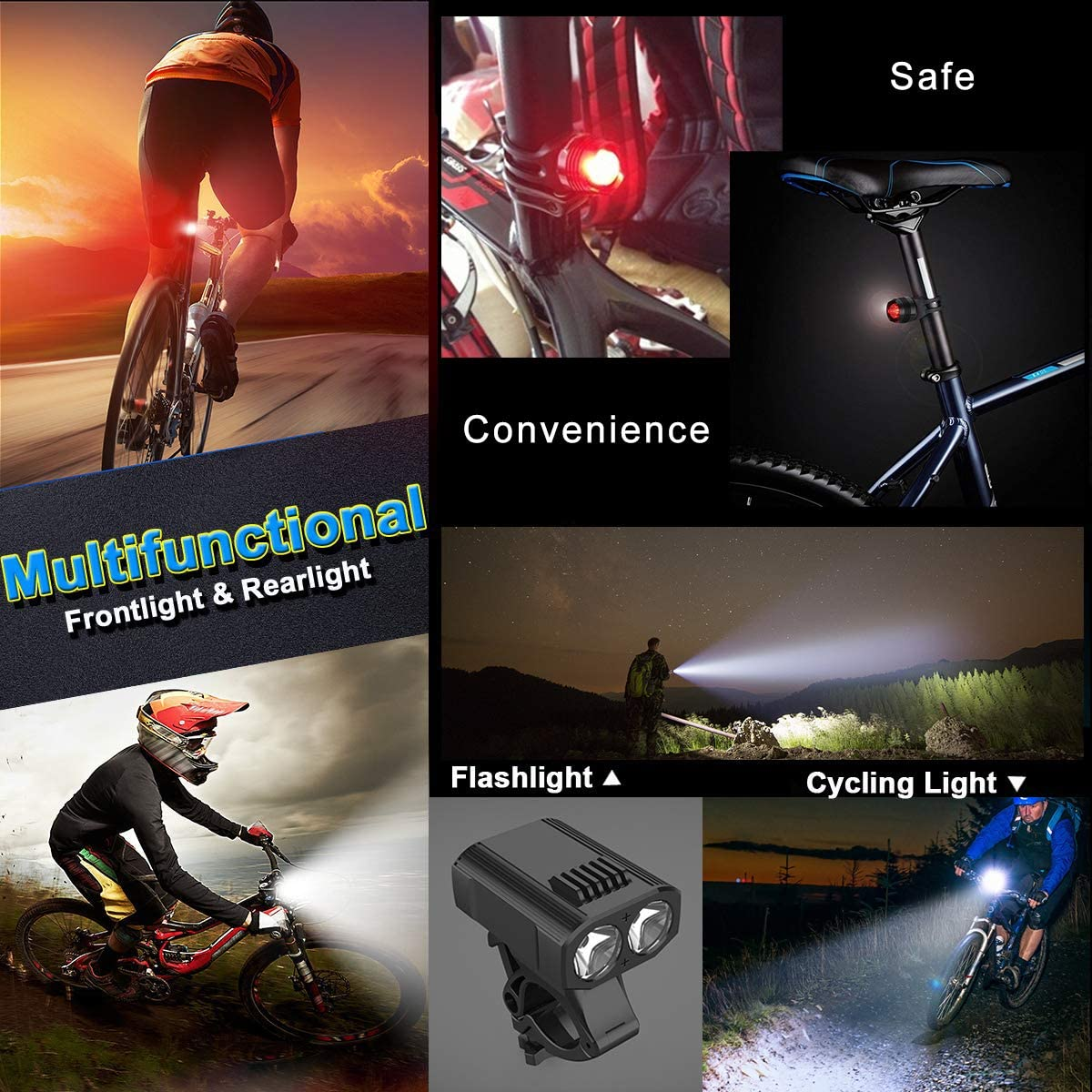 Adjustable Bracket Fit for Cycling IPX6 Waterproof CreBeau Bike Lights Mountain Bike USB Rechargeable LED Bike Light Set 450 High lumen Front and Rear Bicycle Safety Lights