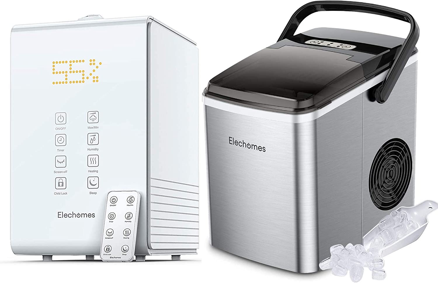 Elechomes SH8820 Warm and Cool Mist Humidifiers and Elechomes Countertop Ice Maker with Handle Bundle