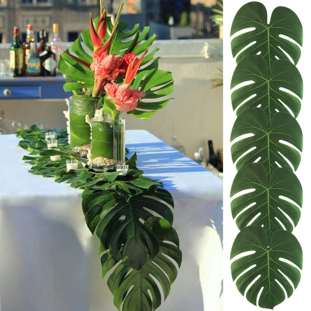 Tropical Palm Tree Leaf Decor - 50PCS Tropical Large Palm Tree Leaves Decorations, Artificial Faux Tree Palm Leaf for Home Hawaiian Luau Safari Jungle Beach Party Decor (Include 60pcs Dots Tapes)