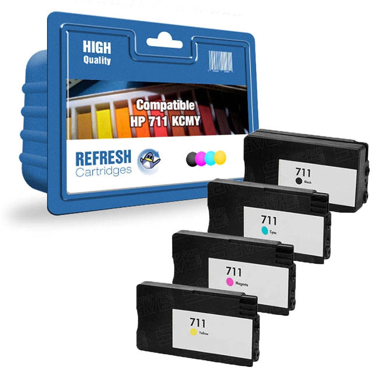 Refresh Cartridges Compatible Cartuchos de HP tinta de repuesto para HP de cz129 a/CZ130 A/CZ131 A/CZ132 A; 711; HP 711 (Multicolor) 7f10a4