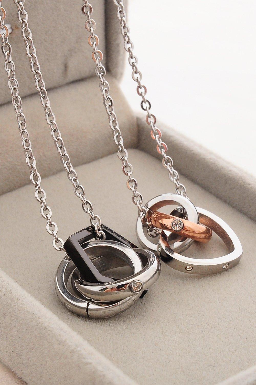 Thai Love You, Romantic Couples Heart Necklace Pendant Accompanied by Unique Suite Men Women Steel Clavicle Chain Short Accessories Gift by PAGIPEN