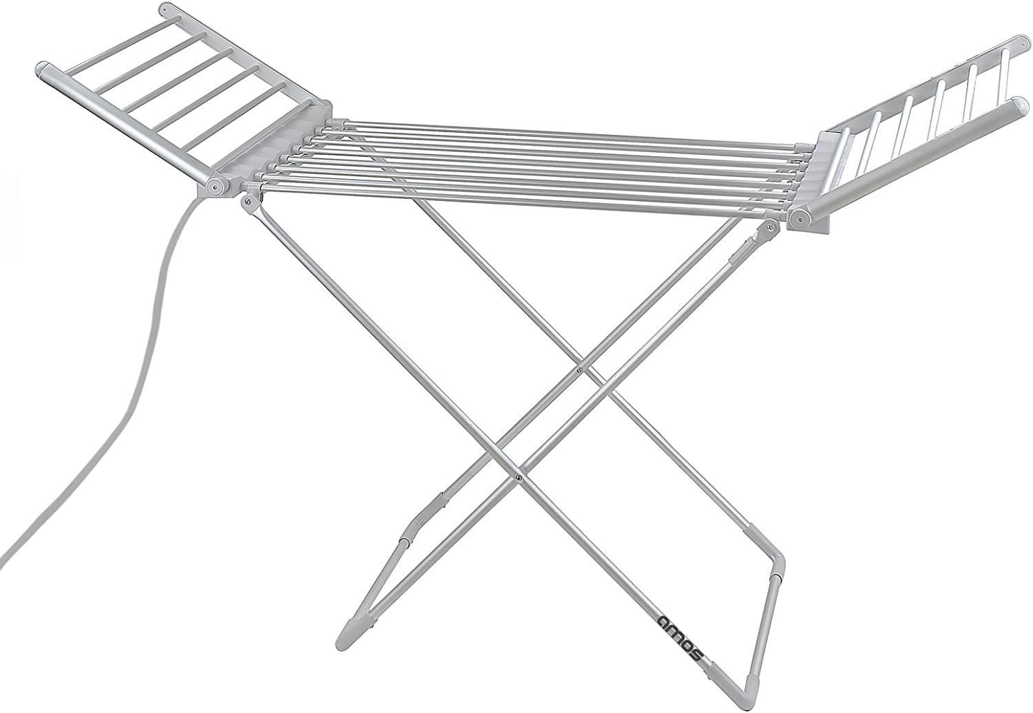 AMOS 230 Electric Heated Clothes Dryer Folding Energy-Efficient Indoor Airer Wet Laundry Drying Horse Rack, white, 8
