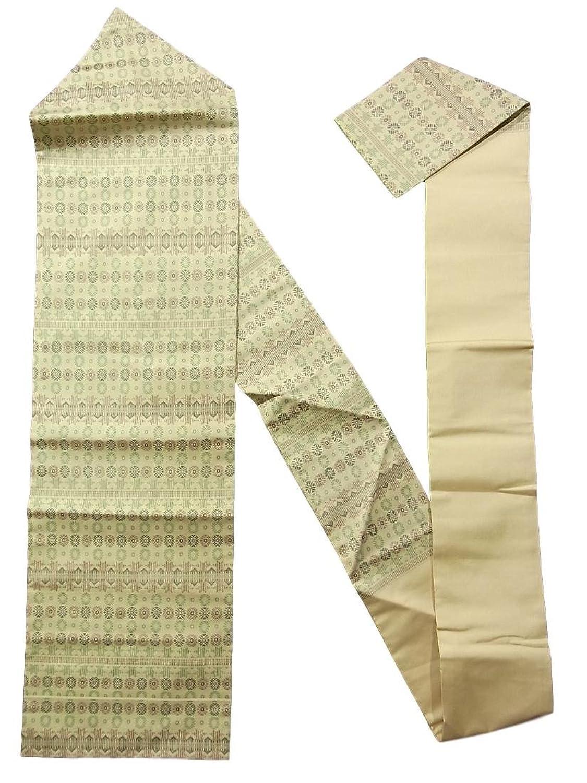 リサイクル 名古屋帯  植物のような装飾文様 正絹 B07FTDTY9H  -