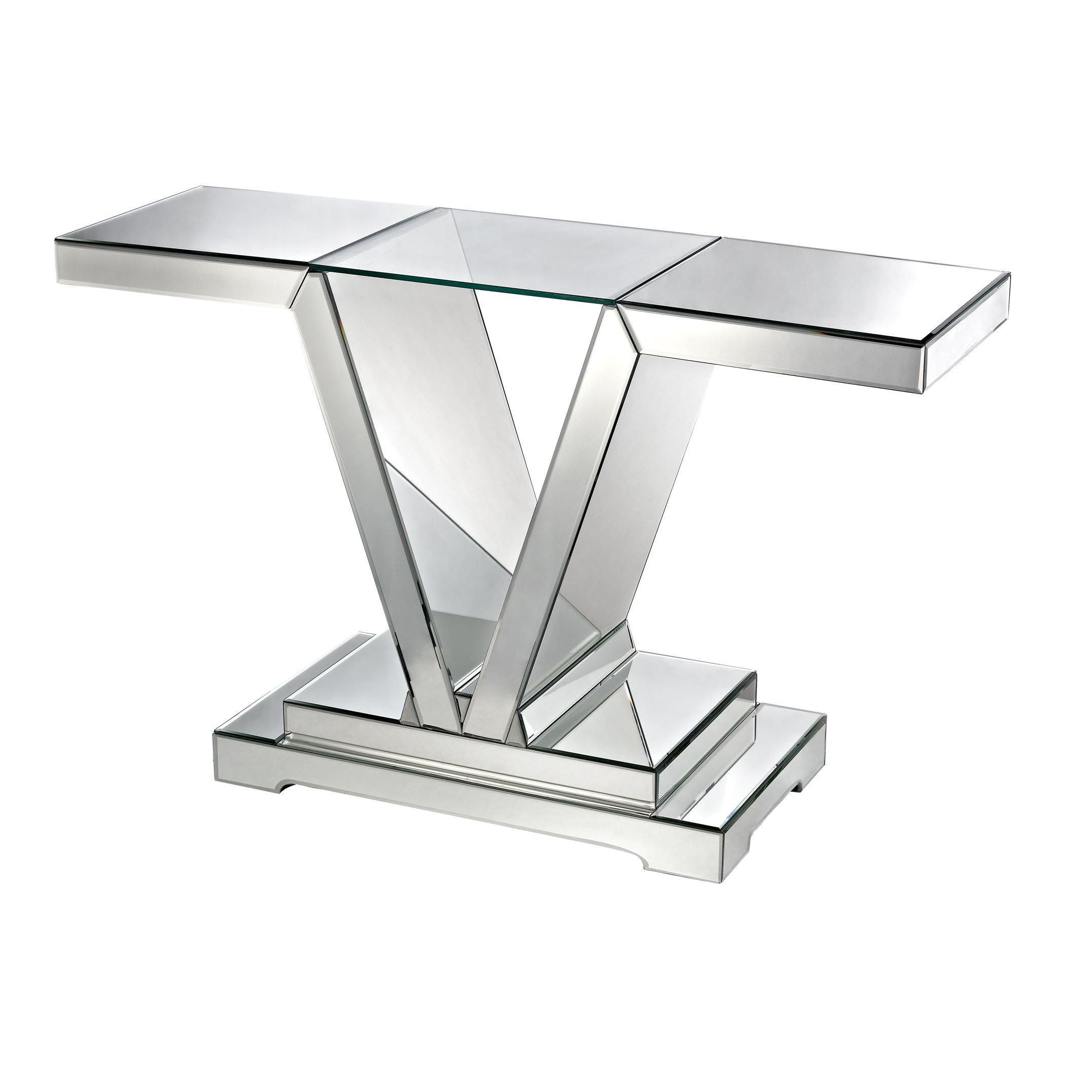 Dimond Home 114174 Mirrored Console Table with Clear Glass Top, 48'' x 15'' x 30''