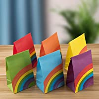 30 Pieces Kraft Paper Party Favor Bags Assorted Colors (Cute Rainbow 30)