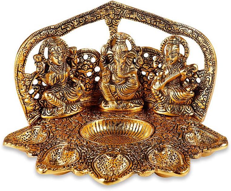 Tuelip Christmas Decorations Metal Brass Laxmi - Ganesh - Saraswati Religious Idol Figurine Hindu God Sculpture for Puja