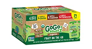 GoGo squeeZ Applesauce on the Go, Variety Pack (Apple/Banana/Cinnamon/Strawberry), 3.2 Ounce (24 Pouches), Gluten Free, Vegan Friendly, Healthy Snacks, Unsweetened, Recloseable, BPA Free Pouches