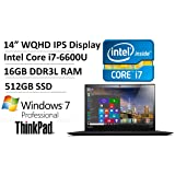 "2016 Top-of-the-line 4th Gen Lenovo ThinkPad X1 Carbon 14"" WQHD Business Laptop - Intel Core i7-6600U up to 3.4GHz, 16GB RAM, 512GB SSD, Fingerprint Reader, WLAN, Bluetooth, Windows 7/10 Pro"