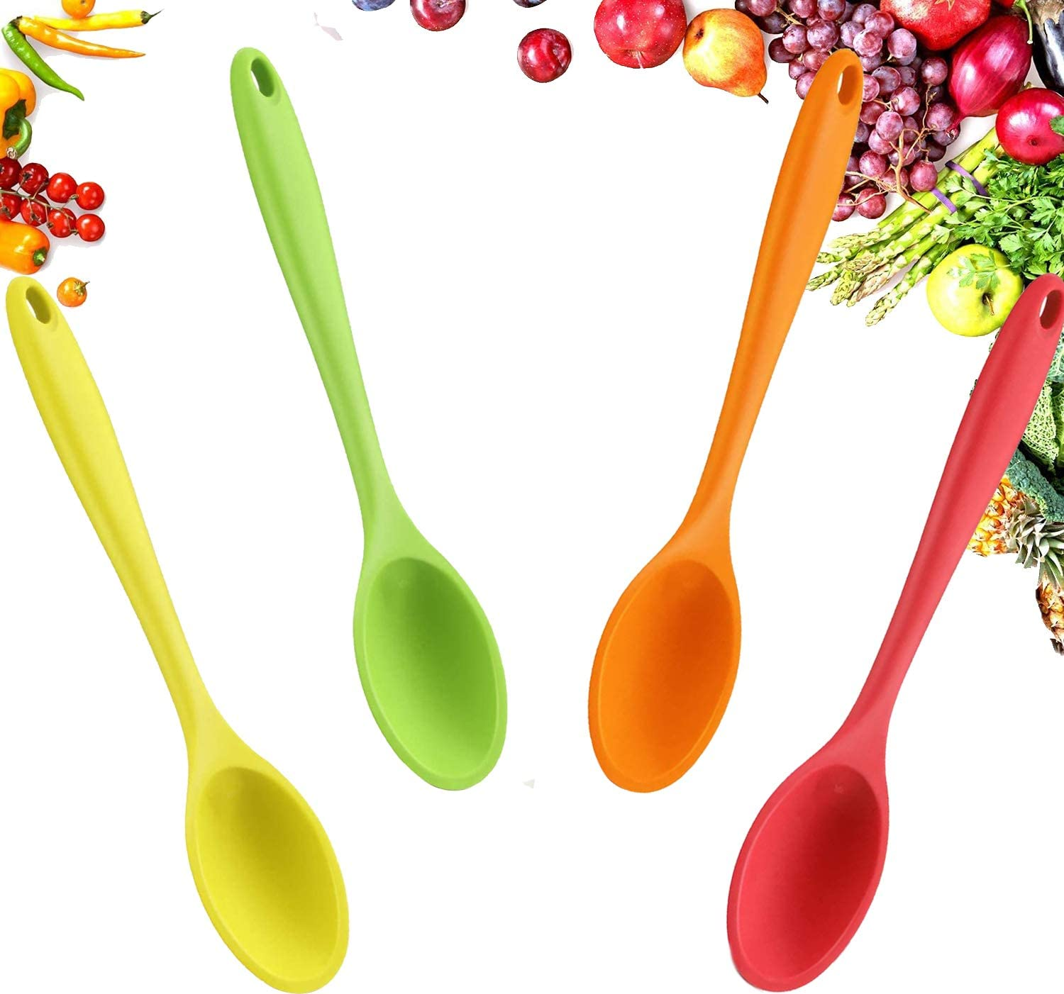 Silicone Mixing Cooking Spoons, Kitchen Nonstick High Heat Resistant BPA Free & Food Grade, Multicolored Silicone Stirring, Large Spoon Tools for Kitchen Mixing, Baking, Serving and Stirring (4 Pcs)
