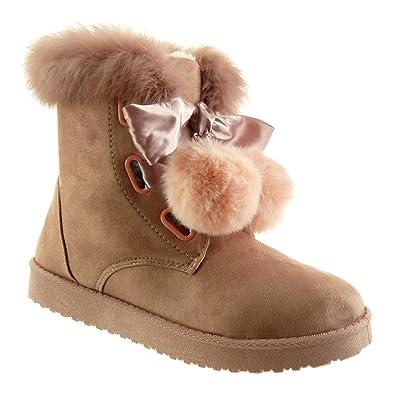 Angkorly - Damen Schuhe Stiefeletten - Schneestiefel - Bommel - Pelz -  Schnürsenkel aus Satin Flache c6ed0758e7