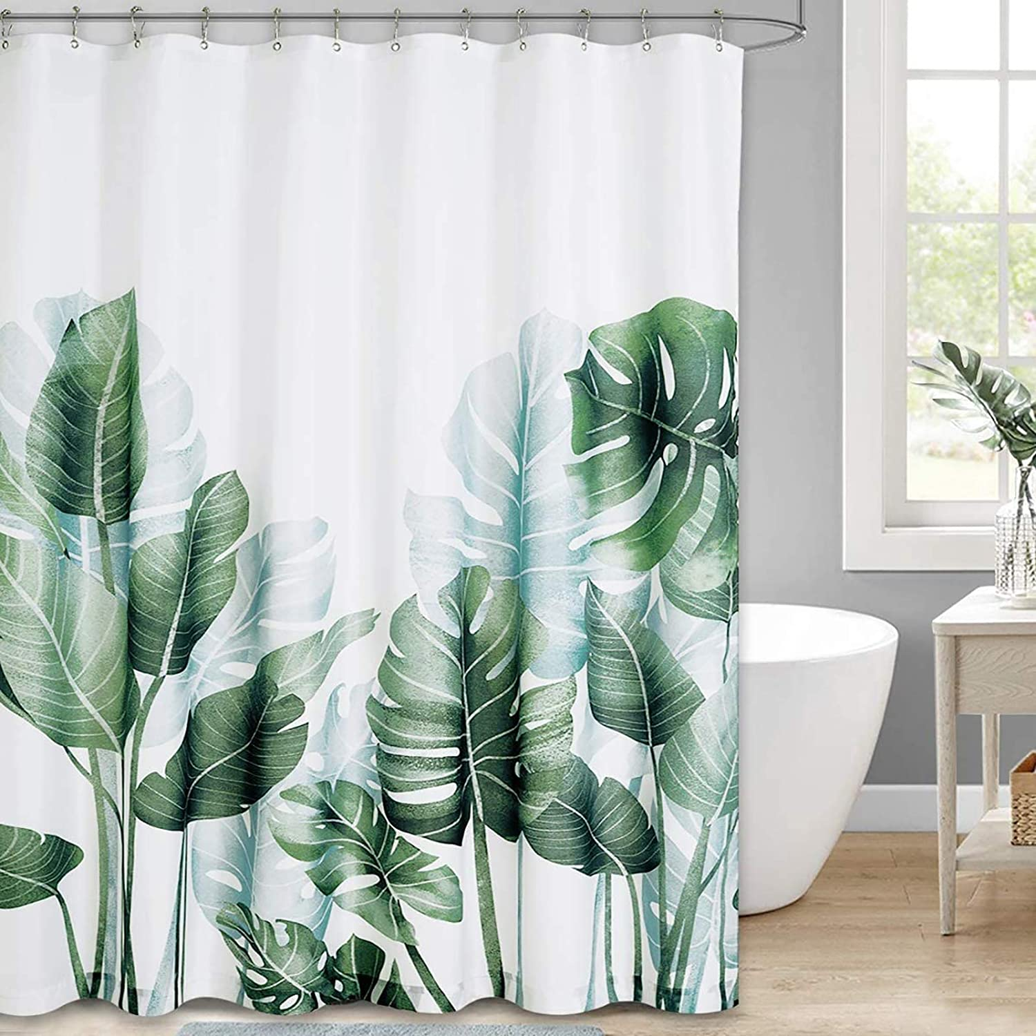 Botanical Shower Curtain Floral Green Cute Leaf Nature Wild Plants Tropical Plant Grass Palm Tree Banana Leaves Tropical Palm Fabric Waterproof Bathroom Home Decor Set 72x72 Inch