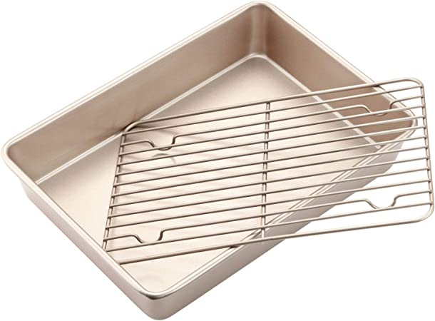 CHEFMADE Roasting Pan with Rack, 13-Inch Non-Stick Rectangular Deep Dish Oven-BBQ Bakeware, FDA Approved for Oven Baking Champagne Gold